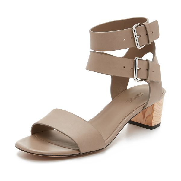 Vince ria city sandals in pumice - Smooth leather straps compose these sophisticated Vince...