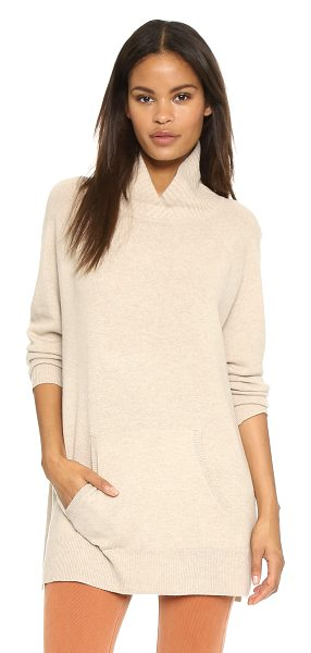 Vince Rib neck pullover in heather oatmeal - An oversized Vince sweater in a luxe blend of natural...