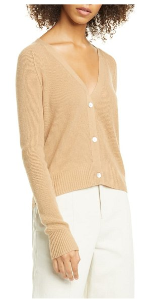Vince ribbed cashmere cardigan sweater in brown