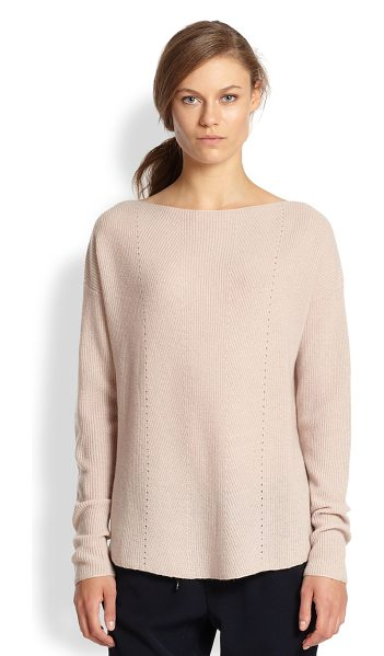 Vince Ribbed cashmere relaxed boatneck sweater in newbuff - The silhouette of this ribbed cashmere sweater is cut to...