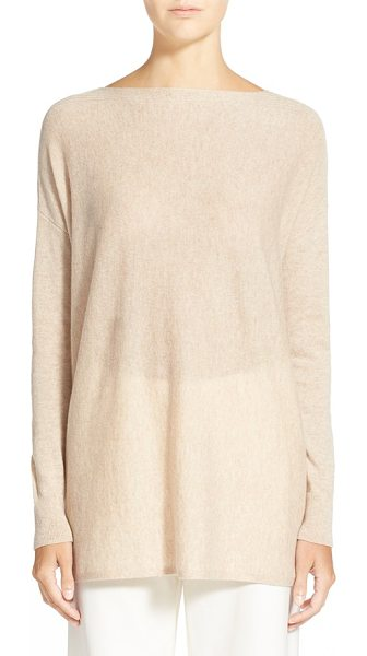 Vince ribbed trim boatneck sweater in heather khaki - Rib-knit accents texture the shoulders of a...
