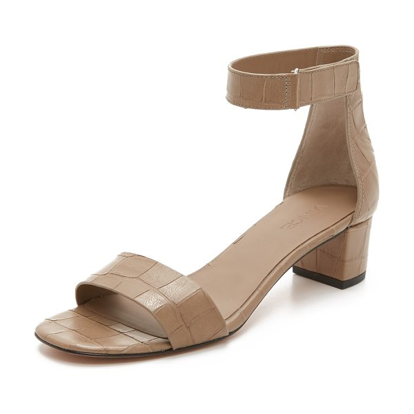 Vince Rita city sandals in pumice - Croc embossed leather composes these sophisticated Vince...