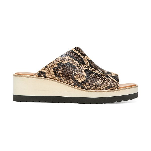 Vince sarria snakeskin-embossed leather wedge mules in tan roccia