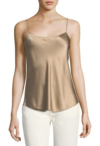 Vince Satin Scalloped Camisole Top in brown - Vince satin camisole with subtle scalloped trim. Approx....