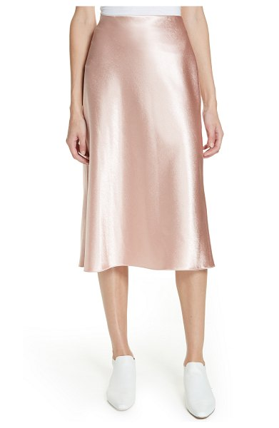 Vince satin slip skirt in pink - Swirl into satin bliss with this free-flowing skirt cut...