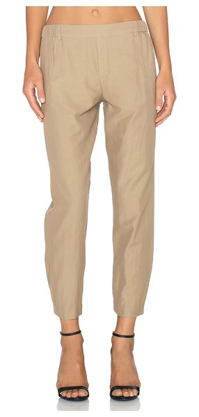 "Vince Seam twill pant in tan - 56% cotton 44% curpo. Dry clean only. 17"""" at the knee..."
