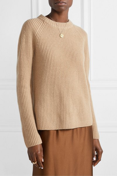 Vince shaker ribbed cashmere sweater in beige