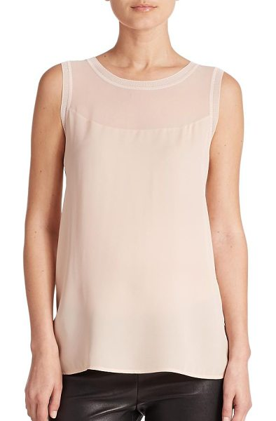 Vince Sheer-inset sleeveless top in newbuff - A sheer inset highlights the yoke of this sleeveless...