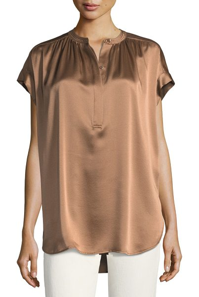 Vince Short-Sleeve Shirred Satin Blouse in tobacco - Vince silk satin blouse with shirred details. Band...