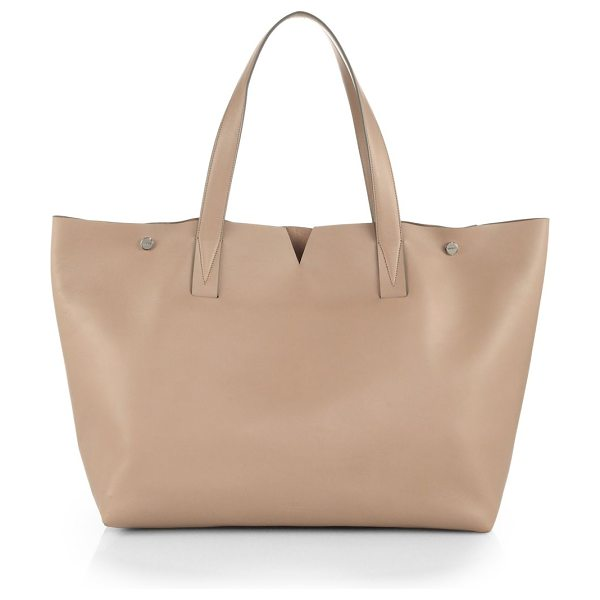 Vince Signature collection medium e/w tote in nude - EXCLUSIVELY AT SAKS. A classic carryall in luxurious...