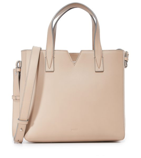 Vince Signature mini east/west tote in nude - A scaled down Vince tote with a notched top line. Inset...