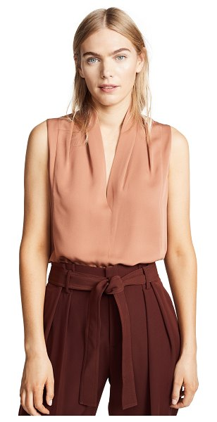 Vince sleeveless drape neck blouse in pink umber - Fabric: Silk charmeuse Pleated shoulders Waist-length...