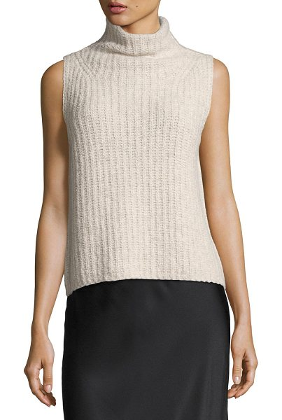Vince Sleeveless Turtleneck Pullover Sweater in hazel - Vince cashmere-knit sweater with directional ribbing....
