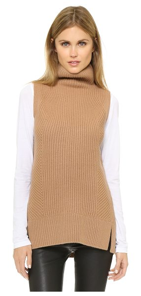 Vince Sleeveless turtleneck sweater in almond - Multi directional ribs bring a subtle design element to...