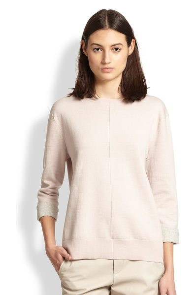 Vince Slouched wool sweatshirt in newbuff - The sleek, minimalist aesthetic of this slouched wool...