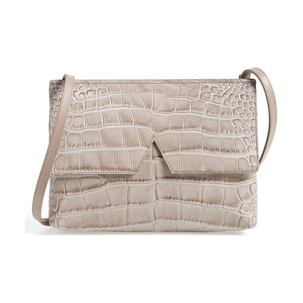 Vince Small croc embossed leather crossbody bag in stone - Dramatic croc embossing amplifies the uptown elegance of...