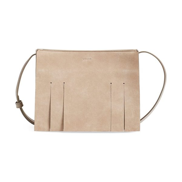 Vince Small fringe suede shoulder bag in new stone