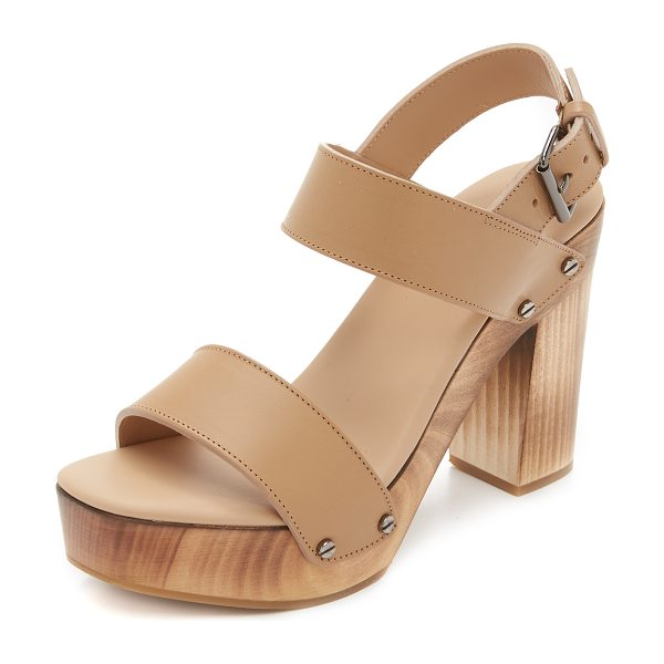 Vince Solange sandals in sand - Screw head studs trim the wooden platform on these...