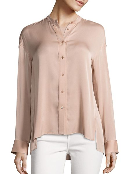 Vince solid pintuck blouse in petal - Pintuck detail highlights this silk blend blouse....