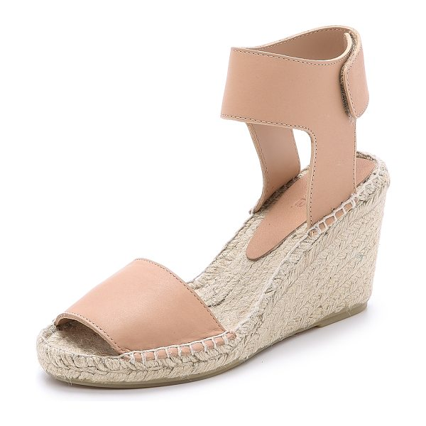 Vince Sophie wedge espadrilles in nude - Braided jute lends a relaxed feel to sturdy leather...