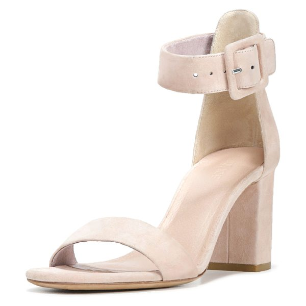 "Vince Suede Ankle-Strap City Sandal in blush - Vince suede city sandal. 3"" covered block heel. Strap..."