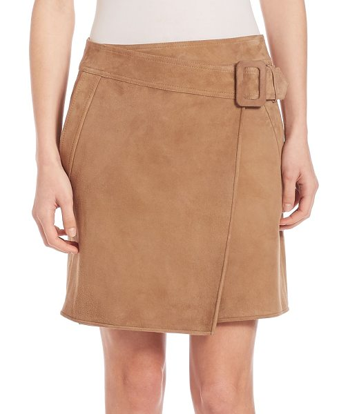 Vince suede asymmetrical belted skirt in taupe - Retro-inspired suede skirt with wrap-style front. Belted...