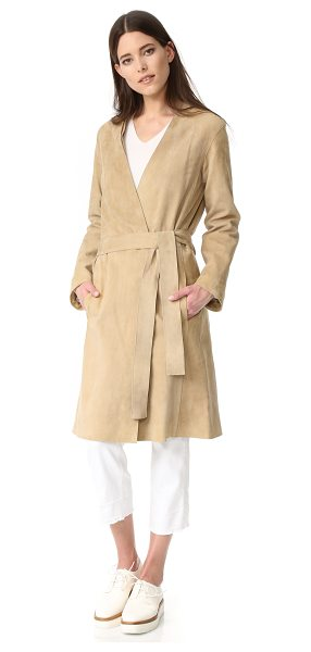 Vince suede robe coat in khaki - Rich, velvety suede composes this elegant Vince trench...