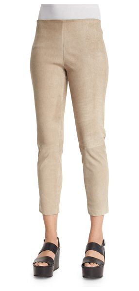 Vince Suede Slim-Fit Pull-On Trouser Leggings in dune - Vince trouser leggings in lamb suede. Approx....