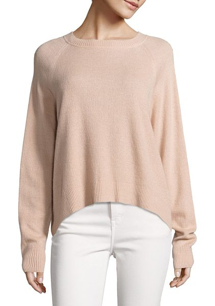 Vince textured cashmere pullover in peach - Statement-making silhouette in luxe cashmere blend....