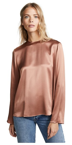 Vince tie back blouse in vintage rose - Fabric: Silk charmeuse Slit at back Waist-length style...