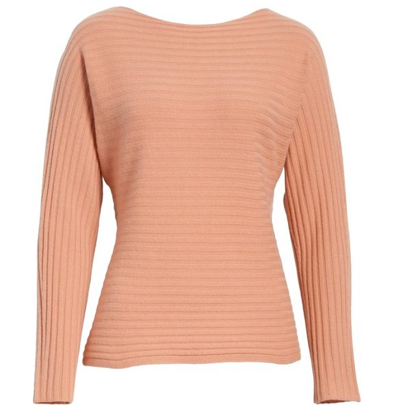 Vince tie back wool & cashmere sweater in blush - Dolman sleeves and a split back create elegant drape for...