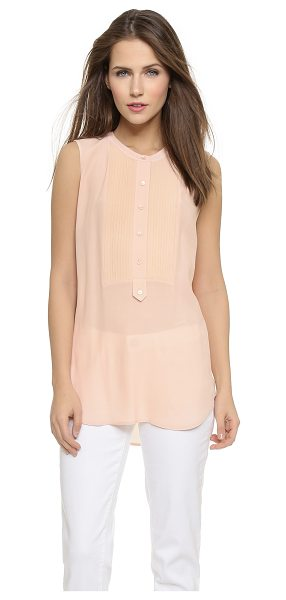 Vince Tuxedo blouse in new buff - This crepe Vince blouse has a tuxedo inspired look, with...