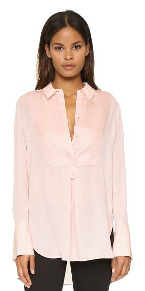 Vince Tuxedo inset blouse in new buff - A silk chiffon Vince blouse with a subtle menswear tone....