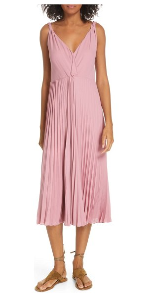 Vince twist front pleated midi dress in pink - The softest pleats and a loosely layered bodice set a...