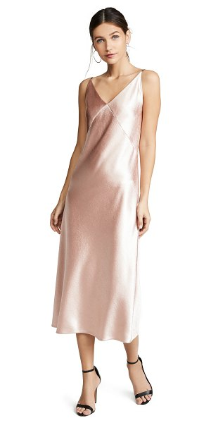 Vince v-neck bias dress in blush - Fabric: Satin weave Pullover style Maxi dress cut V neck...