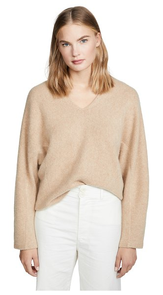 Vince v neck cashmere dolman sweater in heather desert clay