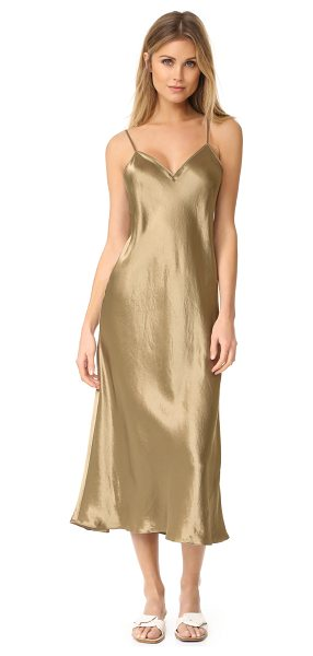 Vince v neck slip dress in khaki - NOTE: Runs true to size. Slinky fabric accentuates the...