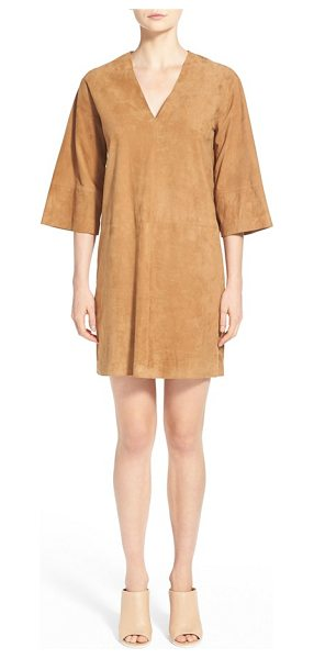 Vince v-neck suede shift dress in khaki - Velvety goat suede is fashioned into a boxy silhouette...