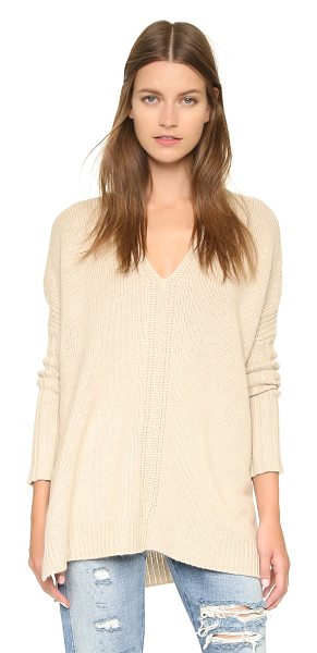 Vince V poncho sweater in heather oatmeal - A V neck Vince sweater in a luxe blend of natural...