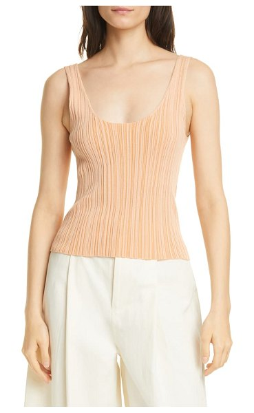 Vince variegated rib tank in coral