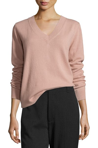 "Vince Vee Lightweight Cashmere Sweater in rose hip - Vince ""Vee"" sweater with ribbed neckline, cuffs, and..."