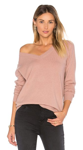 Vince Vee Sweater in blush - 100% cashmere. Hand wash cold. Ribbed trim. VINCE-WK370....