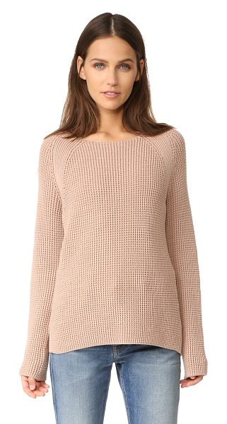 Vince waffle stitch crew pullover in pink cantare - Ribbed sections detail this cozy, waffle-knit Vince...