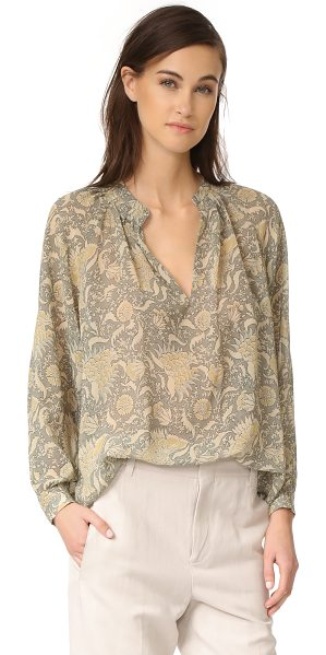 Vince vintage floral pleat neck blouse in natural
