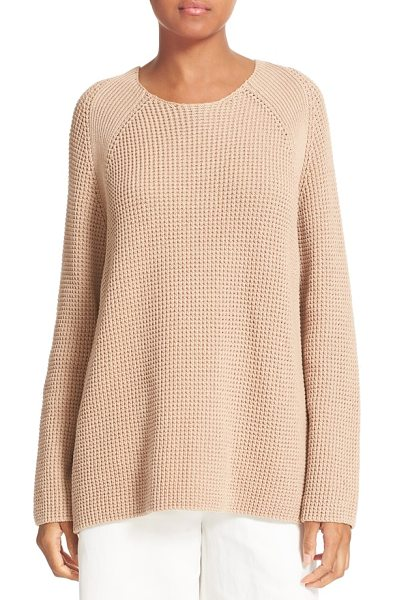 VINCE waffle stitch cotton sweater - Ribbing at the raglan seams adds textural interest to a...