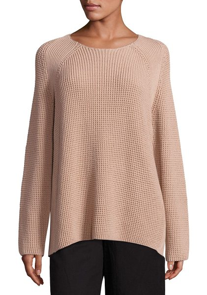 Vince waffle stitch cotton crew pullover in pink cantare - Waffle stitched cotton pullover to create a modern...