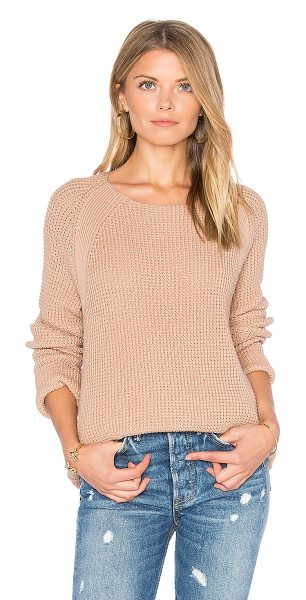 Vince Waffle Stitch Pullover in pink cantare - 100% cotton. Hand wash cold. Ribbed panel accents....