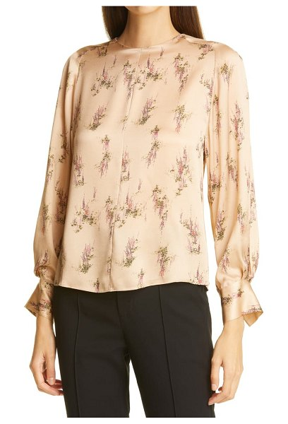 Vince wisteria mock neck silk blouse in brown
