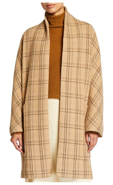 Vince Wool-Blend Plaid Coat in camel