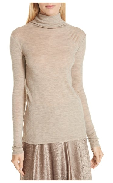 Vince wool turtleneck top in beige - A staple turtleneck is made ideal for layering in a slim...